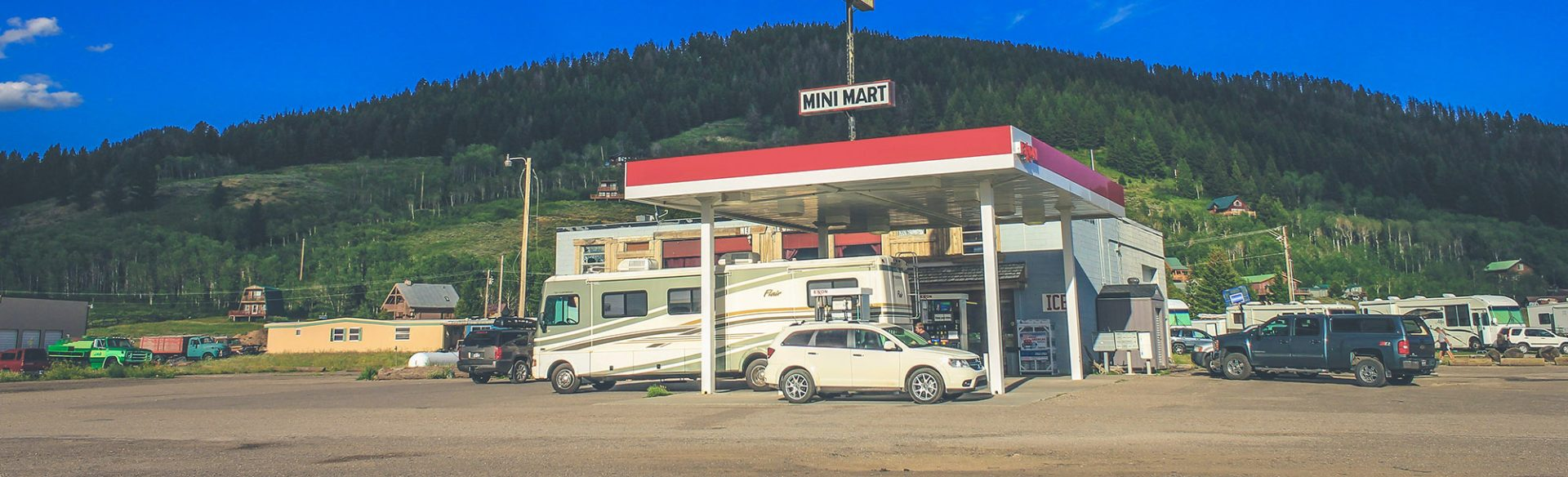 gas station and mountain