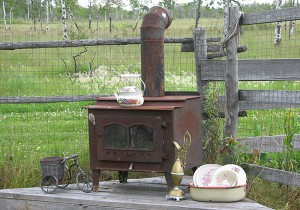 repurposed wood stove