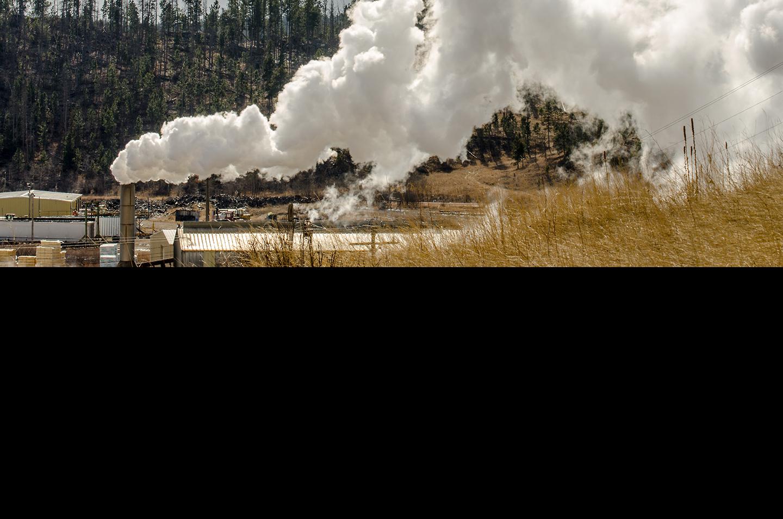 sawmill with smoke
