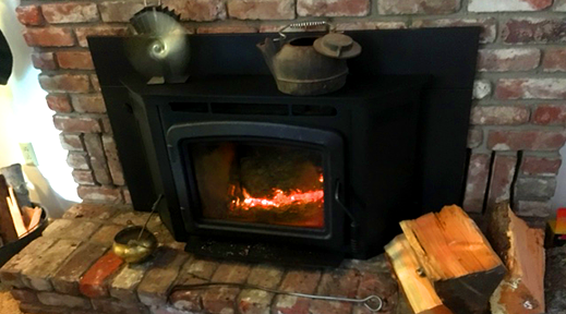 indoor burning example - fire burning in a wood stove