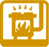 Yellow Wood Stove Icon - Restricted Burning